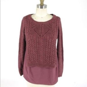 Anthropologie Burgundy Layered Cableknit Sweater